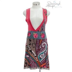 A07 DESIGUAL Designer Dress Size Small S 4 6 Red G